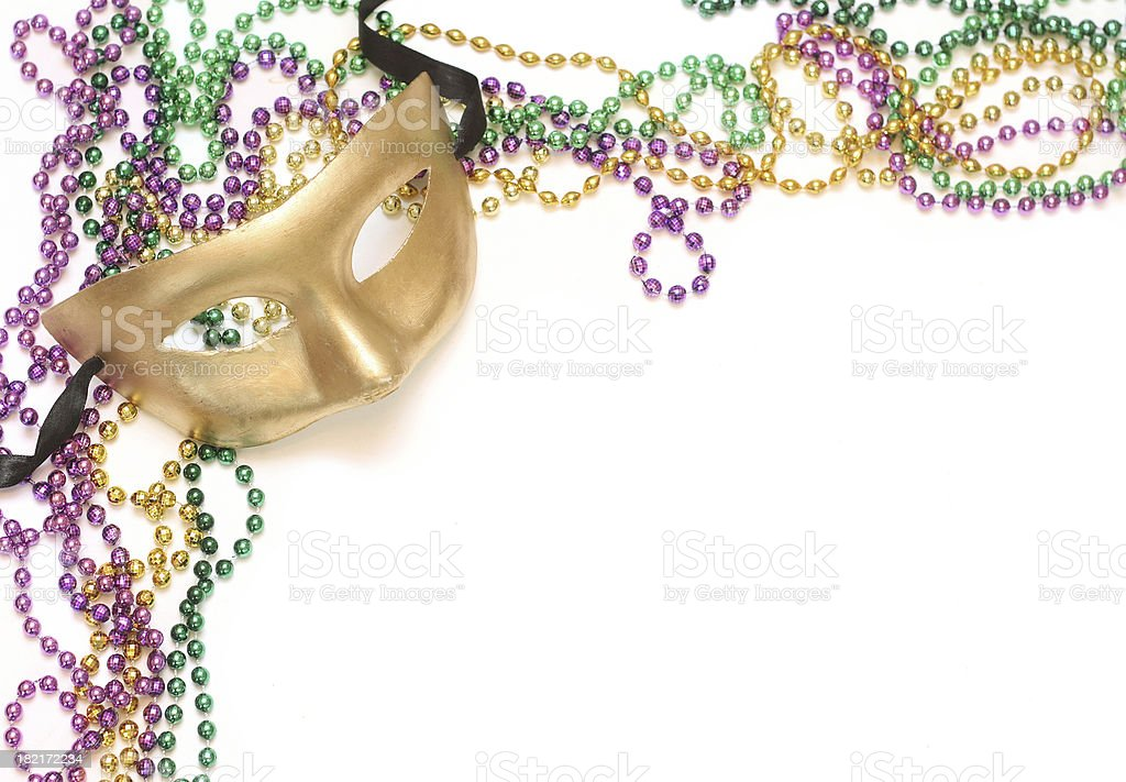 Gold Mask and Beads royalty-free stock photo