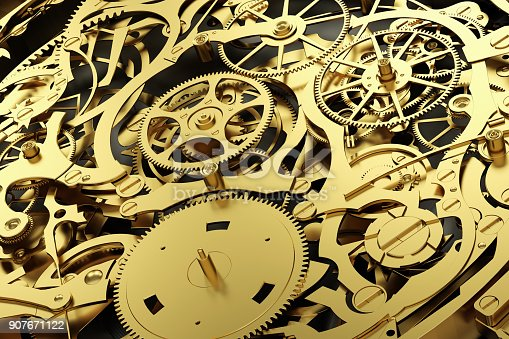istock Gold mechanism, clockwork with working gears. 907671122