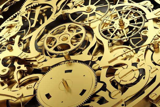 gouden mechanisme, uurwerk met werkende versnellingen. - wijzerplaat stockfoto's en -beelden