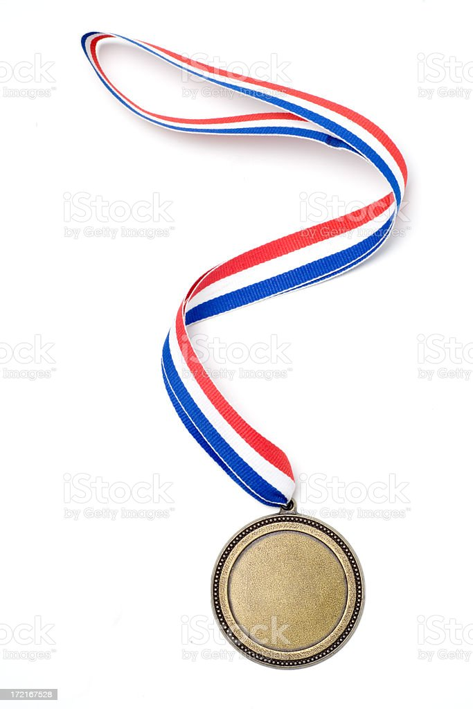 Gold medal award with red, white and blue ribbon stock photo