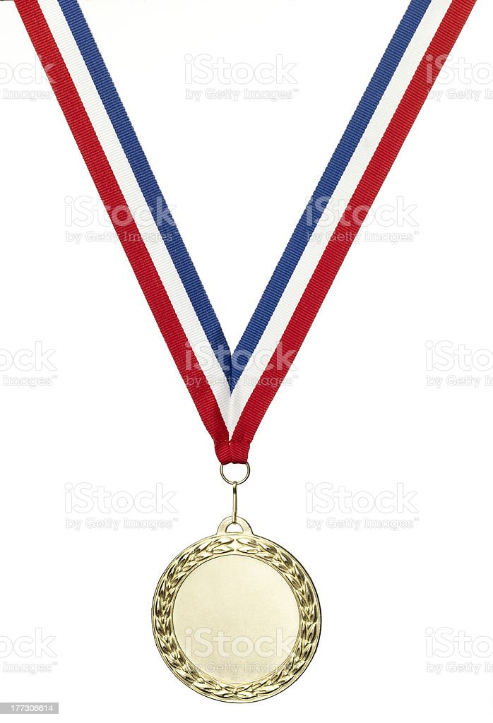 Gold  medal blank with clipping path stock photo