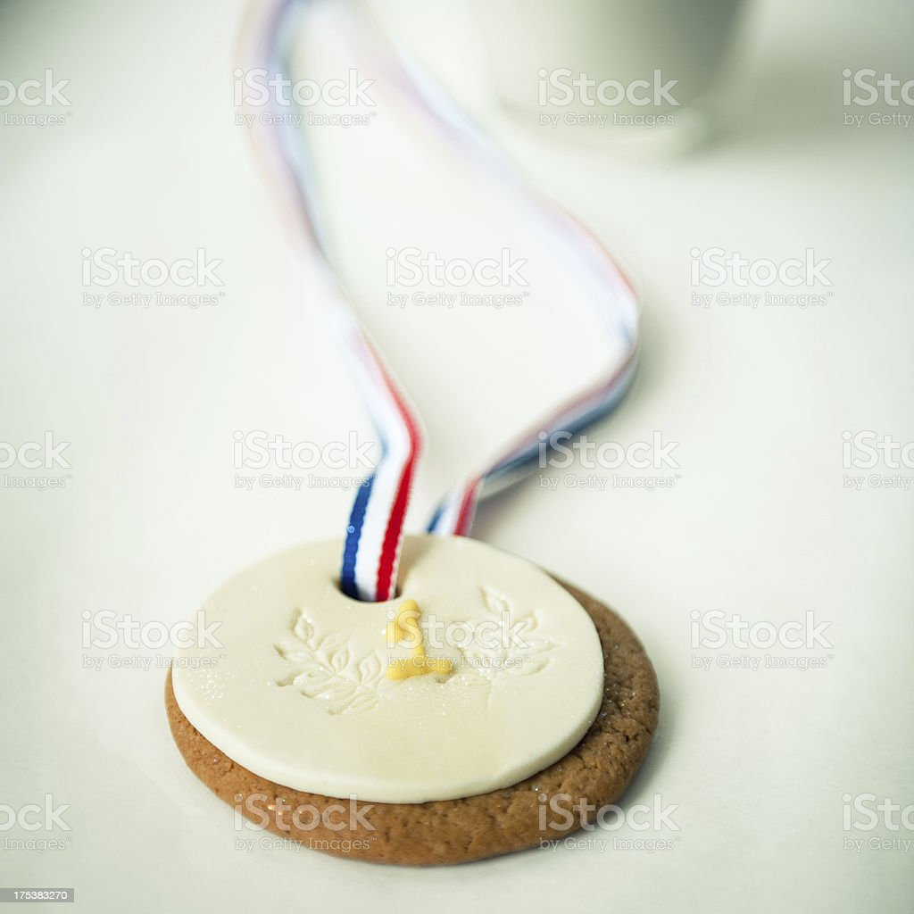 Gold Medal Cookie and Milk stock photo