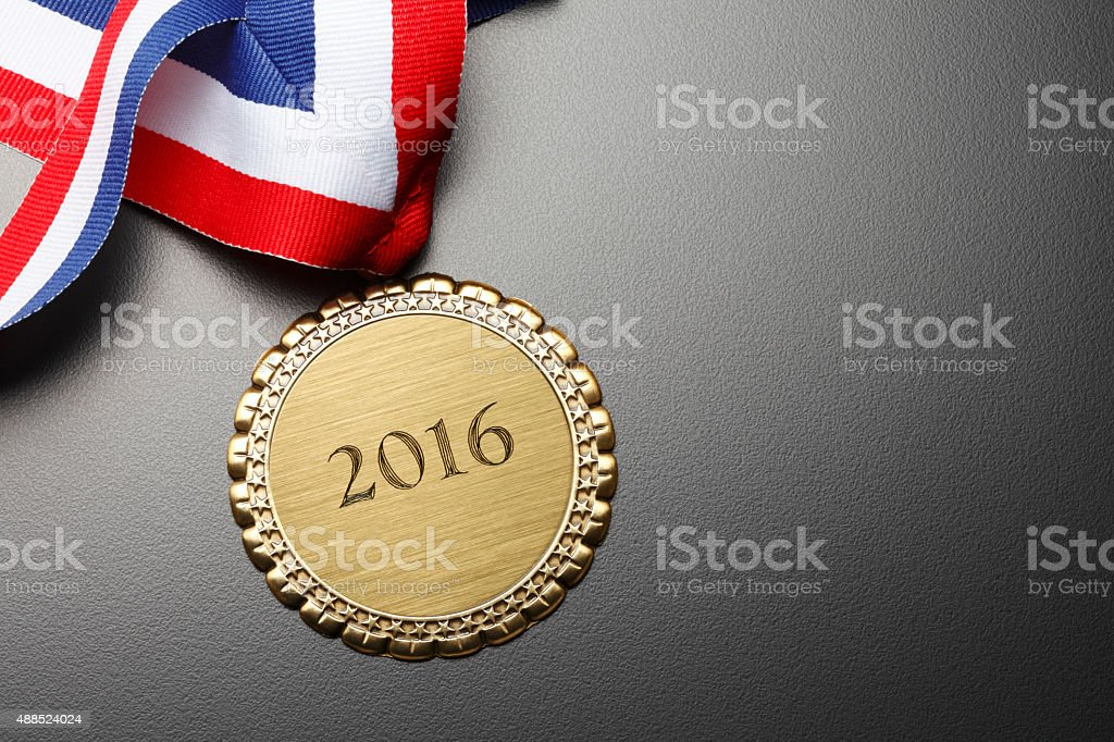 Gold Medal Engraved With The Year 2016 stock photo
