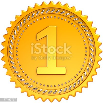 istock Gold medal first place award Number one champion trophy 177495737