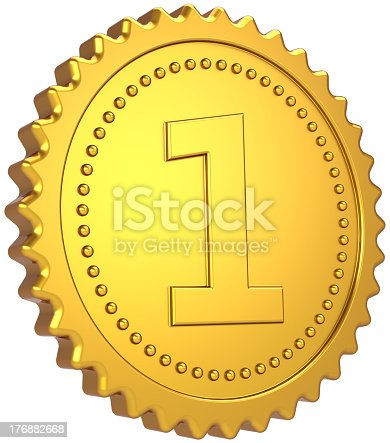 istock Gold medal First place badge Number One champion winner 176882668
