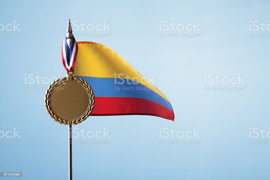 Gold Medal for Colombia royalty-free stock photo
