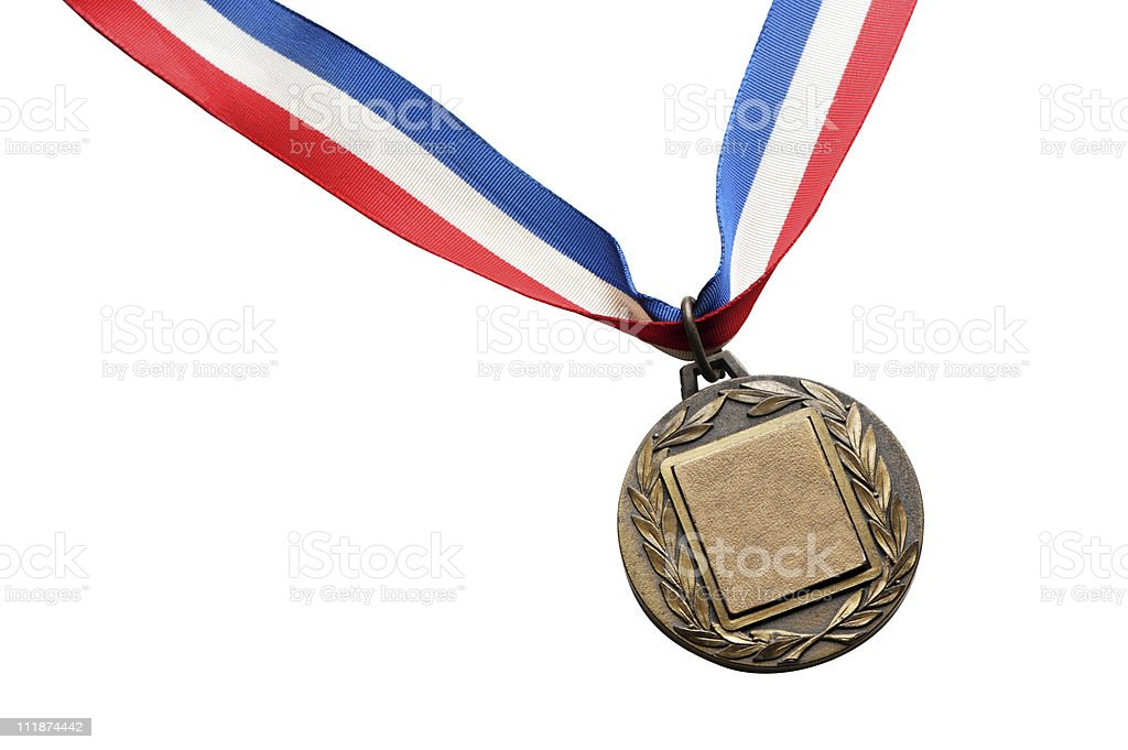 Gold Medal Isolated on White Background royalty-free stock photo