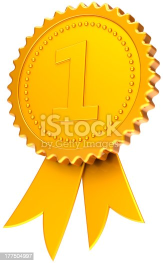 istock Gold medal number one award ribbon first place golden symbol 177504997