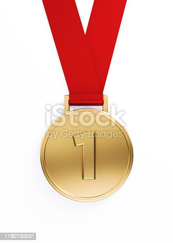 Gold medal on white background, Number one writes on the medal. Vertical composition with clipping path.