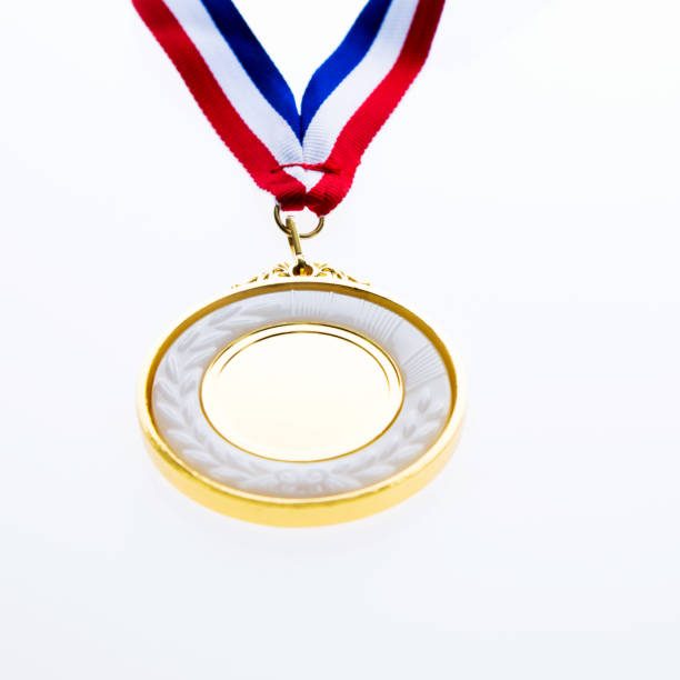 Gold medal on white background stock photo