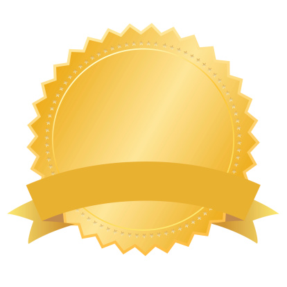 Blank gold medal with ribbon, add your text