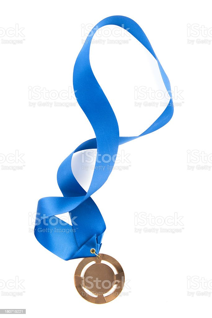 Gold Medal With Blue Ribbon stock photo