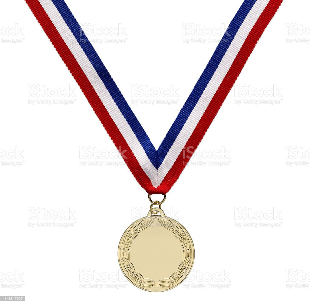 Gold medal with clipping path stock photo