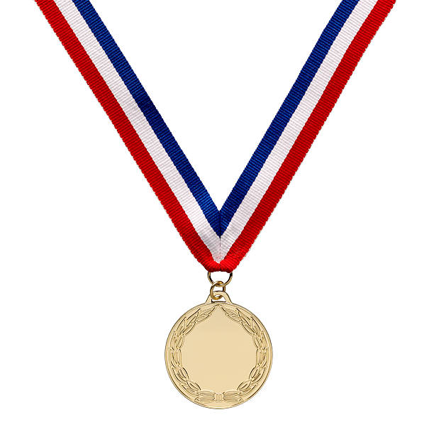 Gold medal with clipping path Gold . medal on Ribbon with clipping path medal stock pictures, royalty-free photos & images