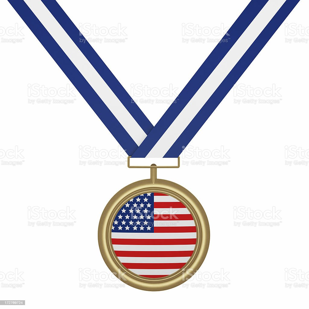 Gold Medal with USA Flag royalty-free stock photo