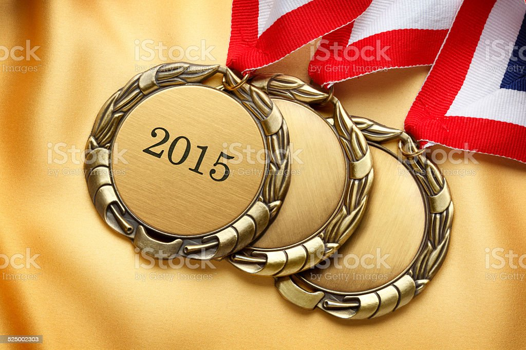 Gold Medals With Year 2015 Engraved On It stock photo