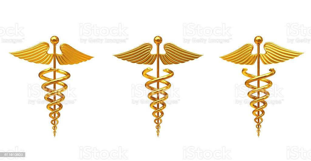 Gold Medical Caduceus Symbol. 3d Rendering stock photo