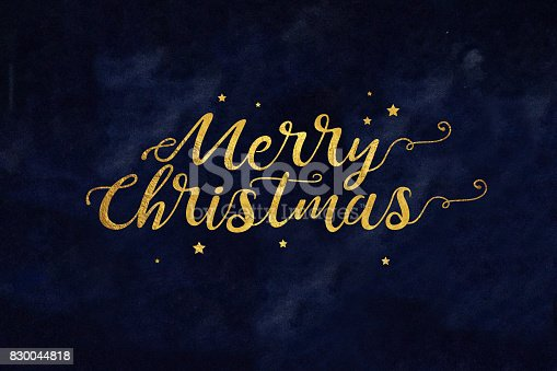 istock Gold Merry Christmas Text with Stars 830044818