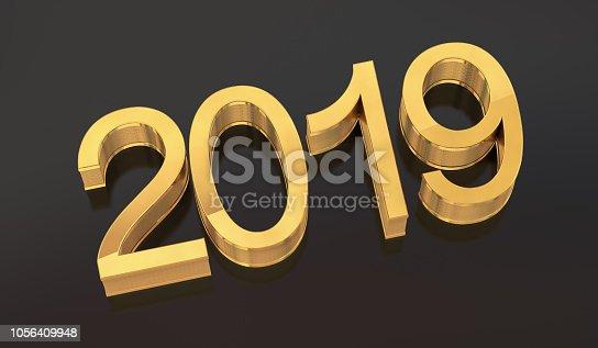 942417132istockphoto 3D Gold Metal 2019 on Black Background 1056409948