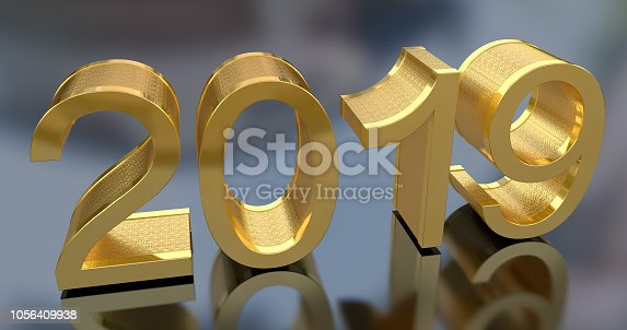 942417132istockphoto 3D Gold Metal 2019 on Gray Background 1056409938