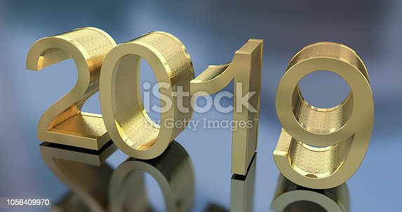 942417132istockphoto 3D Gold Metal 2019 on Gray Background 1056409970