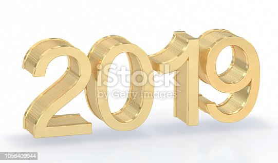 942417132istockphoto 3D Gold Metal 2019 on White Background 1056409944