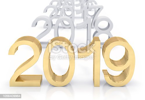 942417132istockphoto 3D Gold Metal 2019 on White Background 1056409964