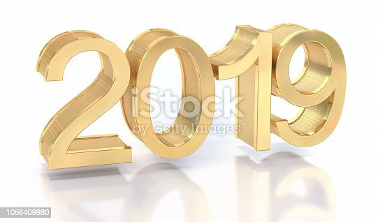 942417132istockphoto 3D Gold Metal 2019 on White Background 1056409980