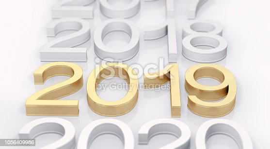 942417132istockphoto 3D Gold Metal 2019 on White Background 1056409986