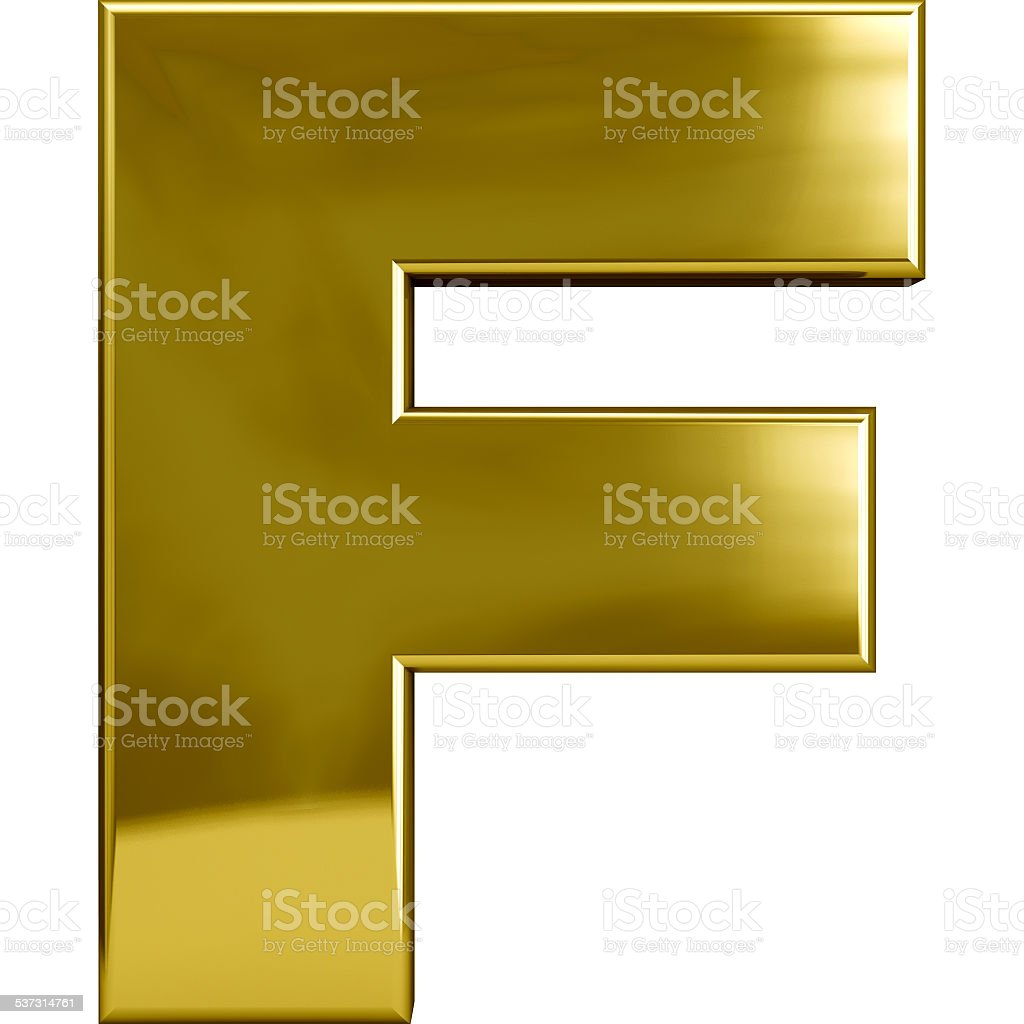 Gold Metal Letter F stock photo