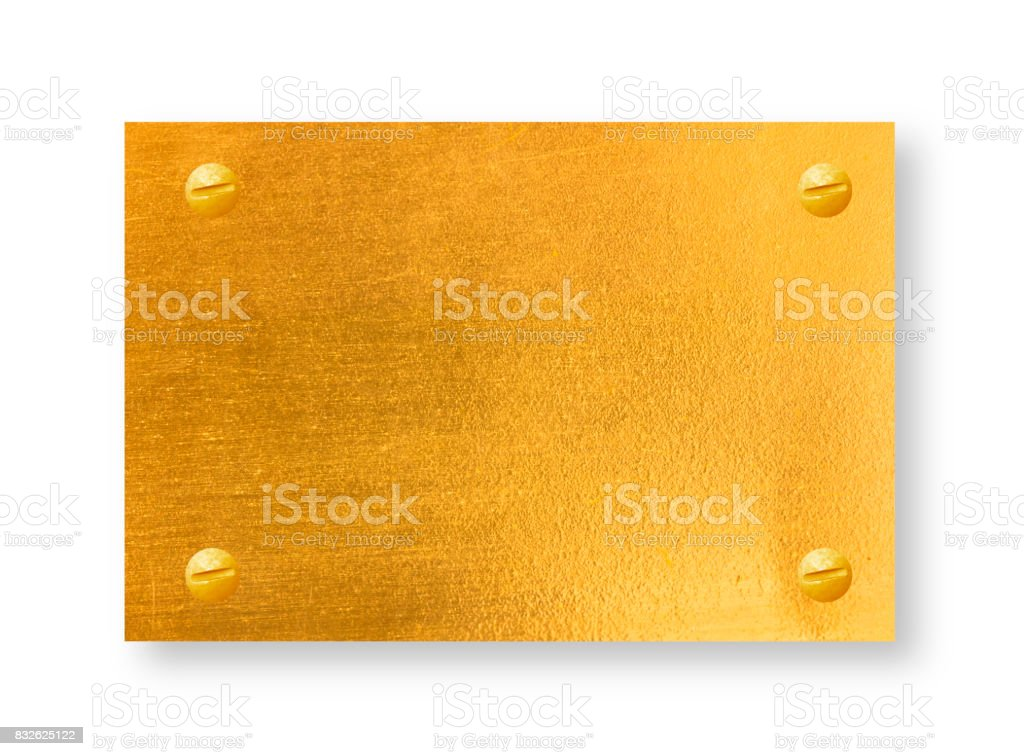 gold metal plates stock photo