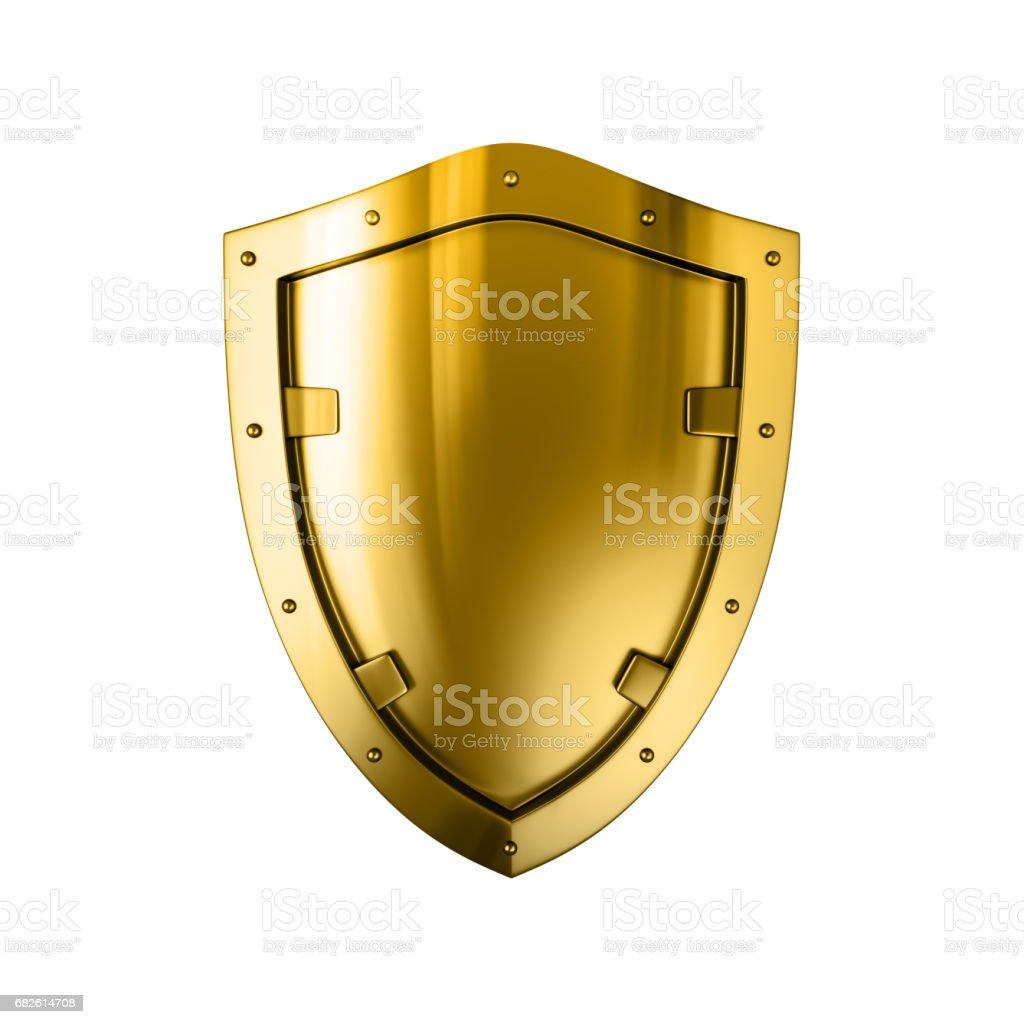 Bouclier en métal or, isolé sur le fond blanc - Photo