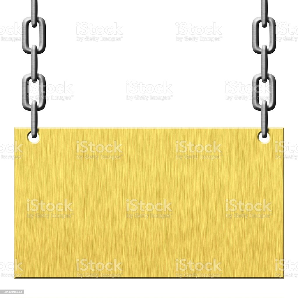 Gold metal signboard hanging on chains royalty-free stock photo