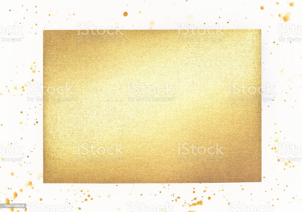 Rectangle Gold metallic foil sheet with linen texture on white...