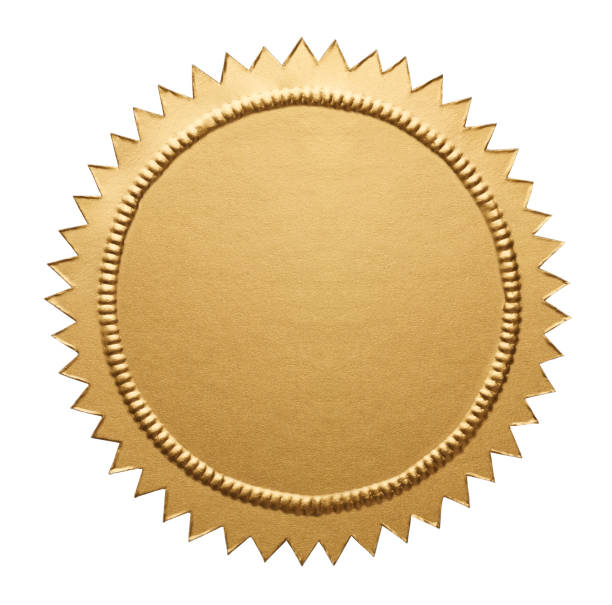 Gold Metallic Seal Empty Notary Seal with Copy Space Isolated on White Background. insignia stock pictures, royalty-free photos & images