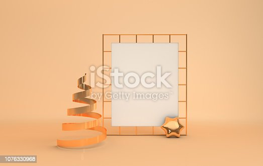 istock Gold metallic xmas tree, white paper on golden grid, xmas decorative star, pastel beige studio room. Shiny ribbon. Illustration for New Year's and Christmas banners. 3d rendering. 1076330968