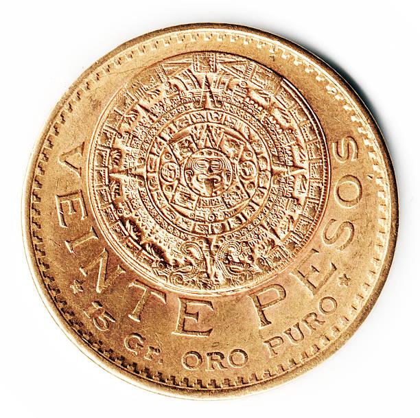 Gold Mexico 1918  Peso featuring the Mexican Calendar stock photo