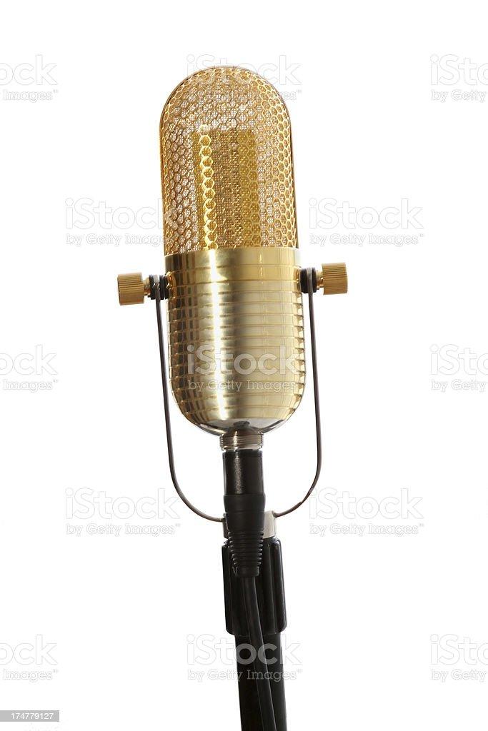 Gold microfone em fundo branco - foto de acervo