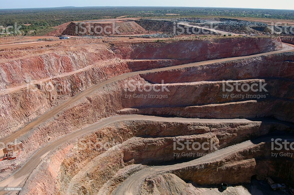 Gold mine open pit stock photo