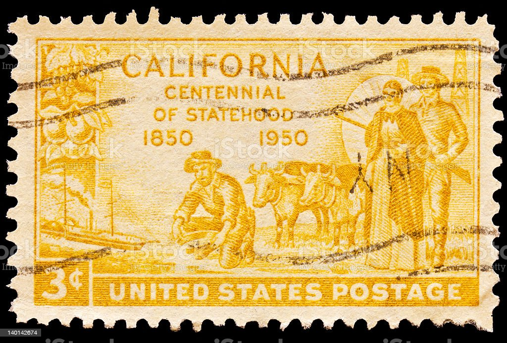 Gold miner, oxen and pioneers pictured on California centennial...