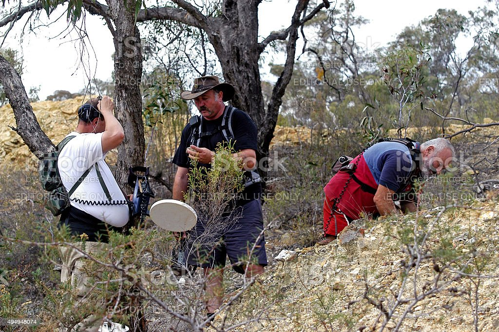 a group of three gold miners in Victoria in Australia share their...
