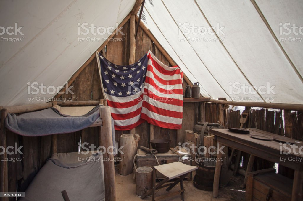 Gold miner tent. stock photo
