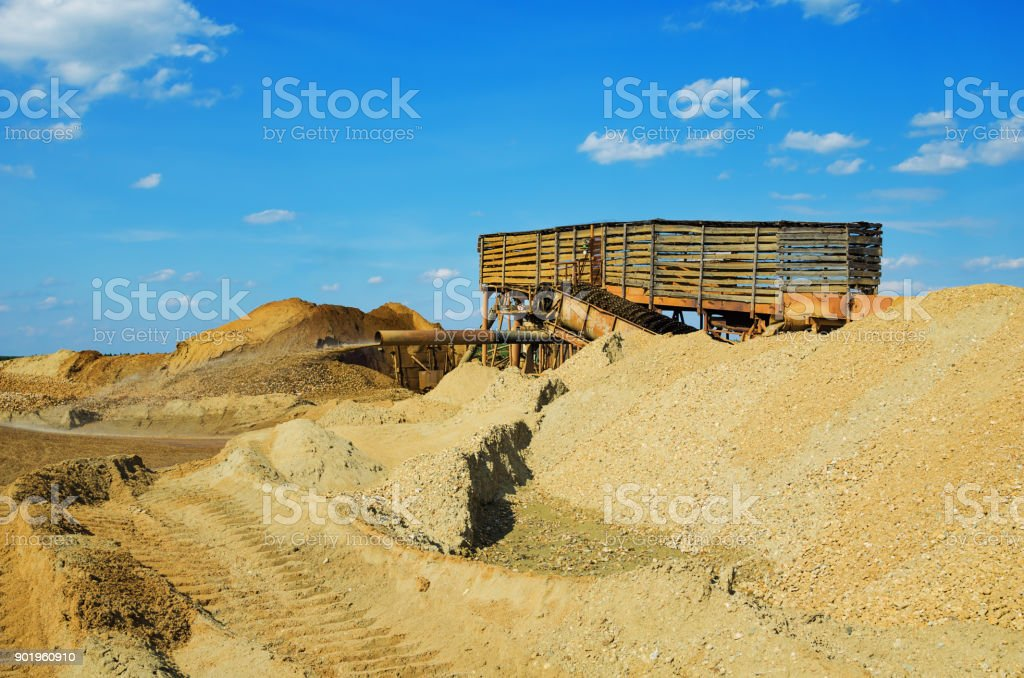 Industrial site for gold mining by the hydraulic method