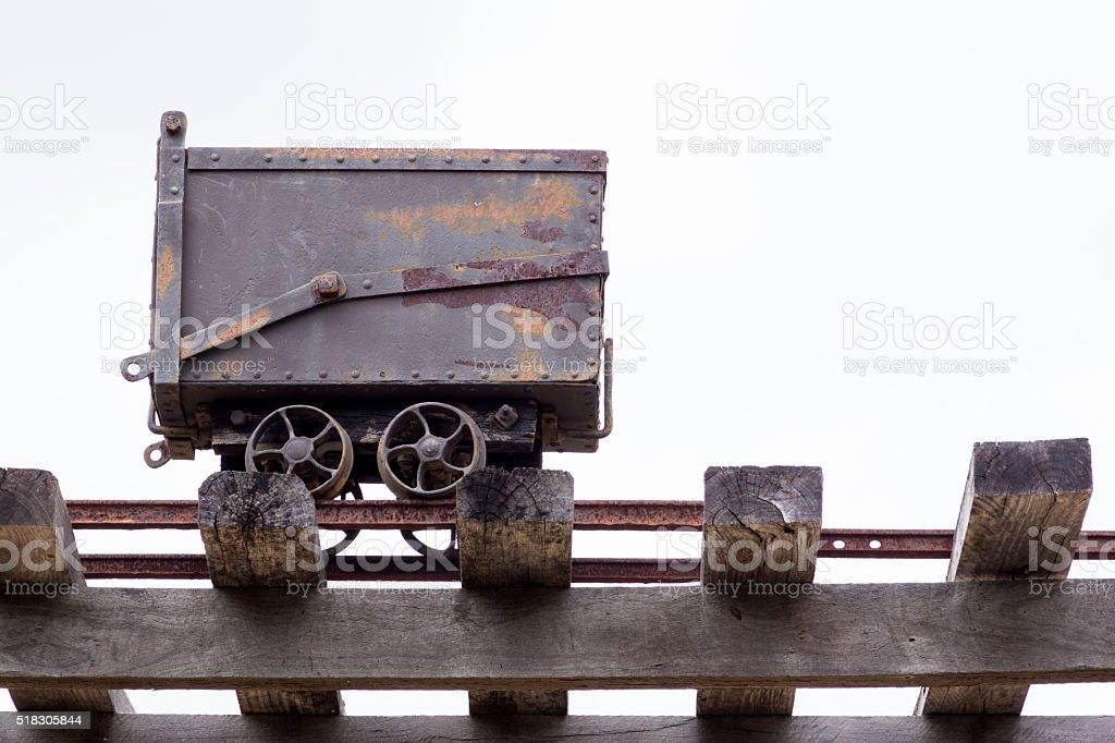 Gold mining rail cart stock photo