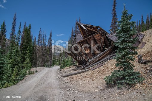Abandoned old wooden gold mining building