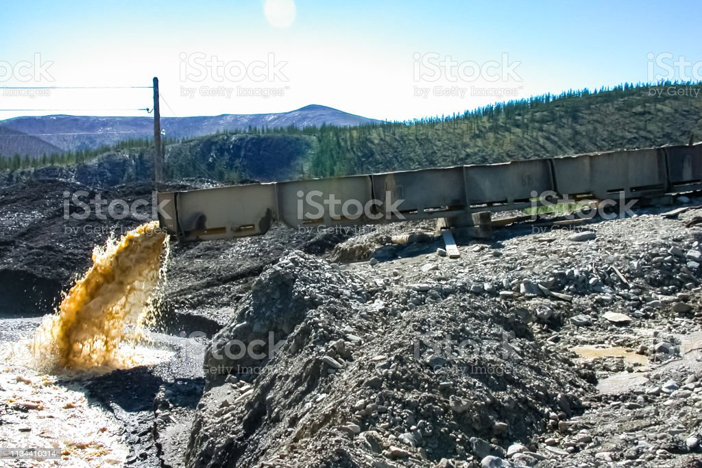 Gold mining, washing ore. Gold mining washing ore