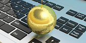 Party concept.  Gold mirror disco ball on a computer  background, 3d illustration