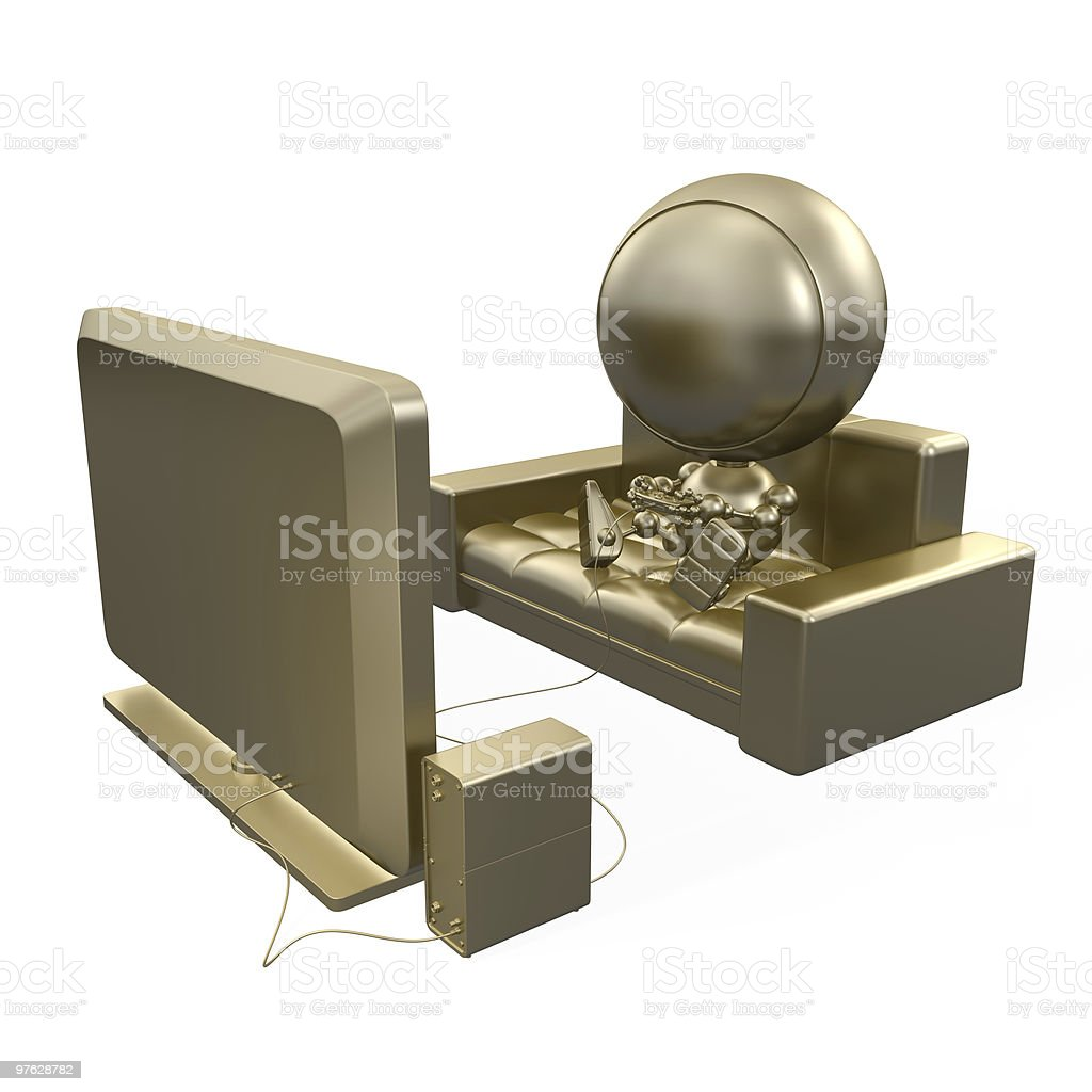 Gold model of gamer royalty-free stock photo