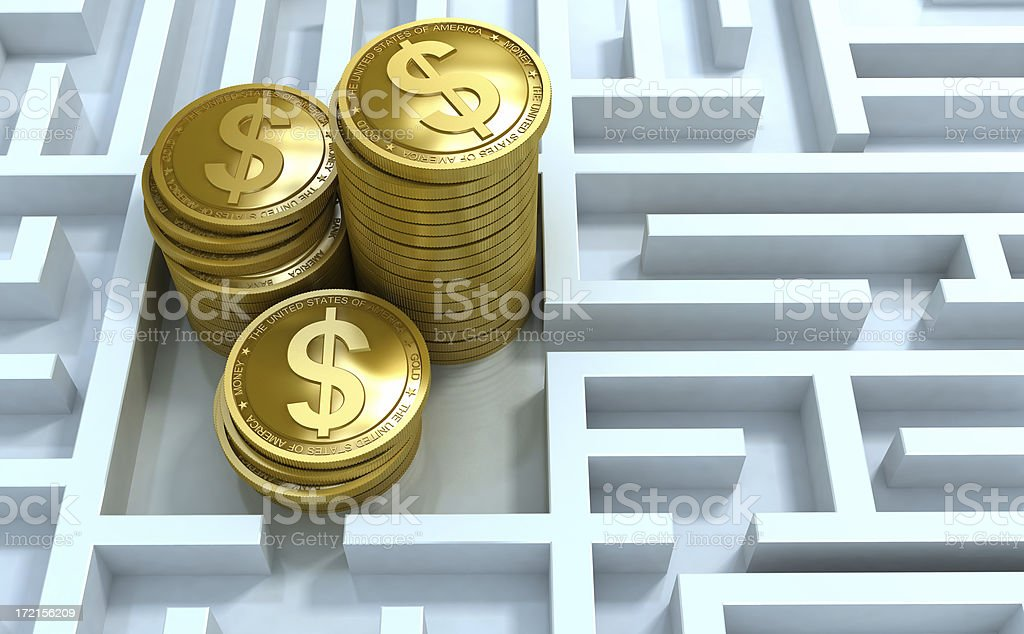 Gold money in labyrinth royalty-free stock photo