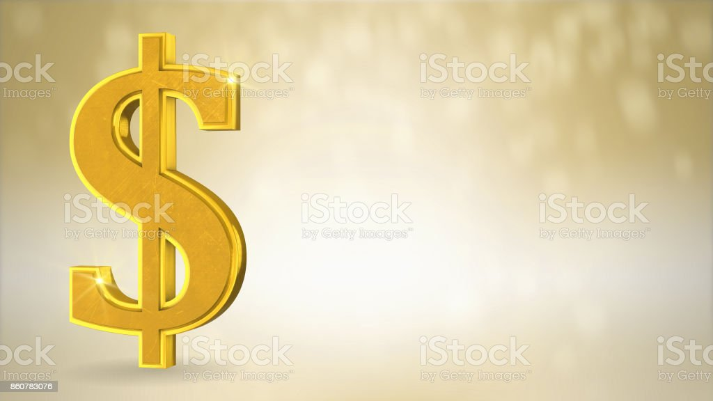 Gold money or dollar sign with text space conceptual background stock photo